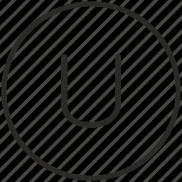 key, keyboard, letter, round, u icon