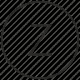 key, keyboard, letter, round, z icon