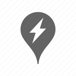 charge, electric, gps, lightning, location, pin, station icon
