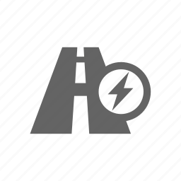 auto, distance, electric, lightning, road, vehicle icon