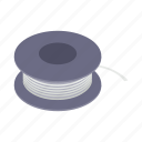 cable, electrical, electricity, equipment, isometric, reel, wire icon