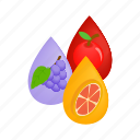 design, electronic, fruit, isometric, juice, vape, vaporizer icon
