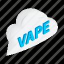 cigarette, electronic, isometric, nicotine, vape, vaping, vapor icon