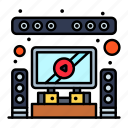 home, speaker, system, theater icon