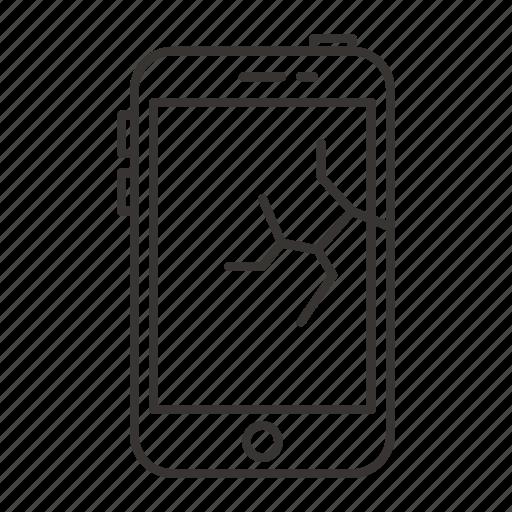 broken, display, iphone, mobile, phone, screen, smartphoe icon