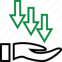 arrow, hand, money icon