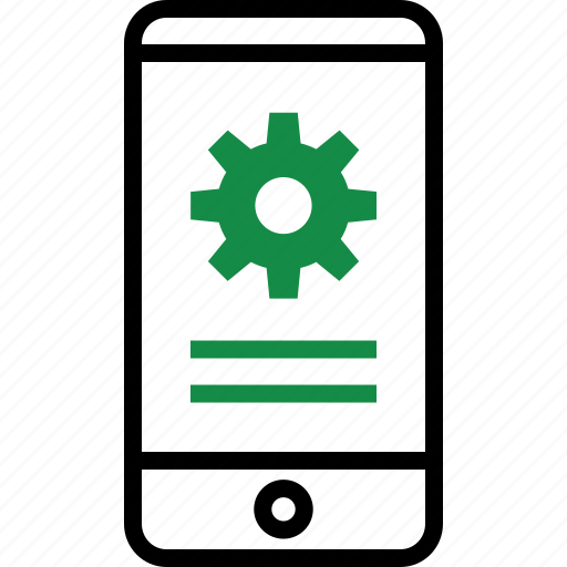 business, cell, gear, phone icon