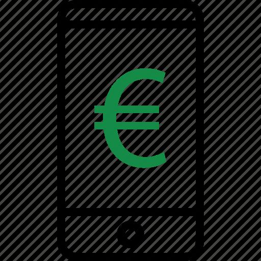 business, euro, mobile icon