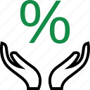 business, hand, percent icon