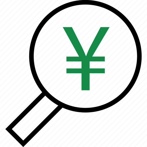 business, glass, magnifying, yen icon