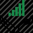 data, graph, hand, report icon