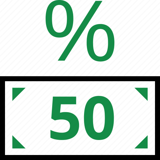 fifty, percentage, rate, revenue icon