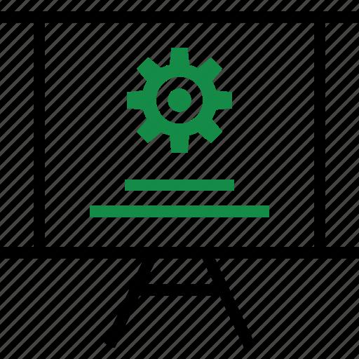 board, gear, presentation icon