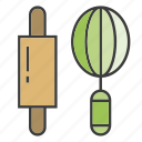 appliance, blend, cooking, kitchen tool, roller, rolling, whisk icon