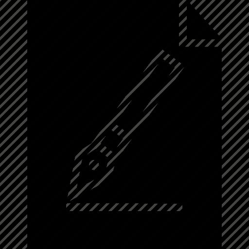 graphic, paper, pen icon