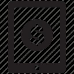 ipad, money, tablet icon
