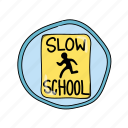 color, crossing, driving, elementary, parking, school, sign icon