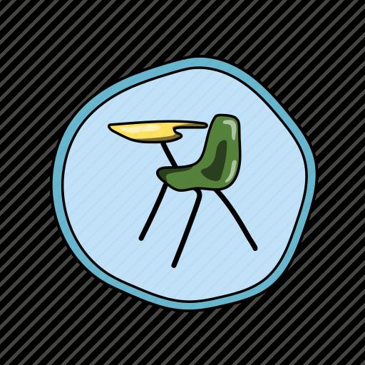 color, desk, elementary, school icon