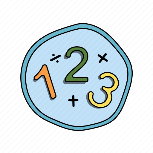 color, elementary, math, numbers, school icon