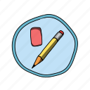 color, elementary, eraser, pencil, school icon