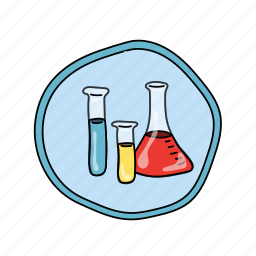 beakers, color, elementary, school, science icon