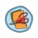 blue, color, elementary, orange, red, school, scissors icon
