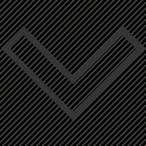 arrow, down, geometry icon