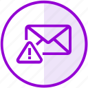 alert, attention, email, envelope, inbox, mail, warning