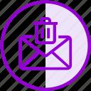 delete, email, envelope, inbox, letter, mail, trash