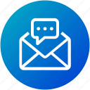 chat, email, envelope, inbox, letter, mail, message