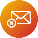 delete, email, envelope, inbox, letter, mail, reject icon