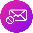 block, cancel, email, envelope, inbox, letter, mail icon
