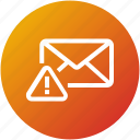 alert, attention, email, envelope, inbox, mail, warning icon