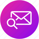 email, envelope, find, inbox, letter, mail, searching icon