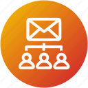 email, envelope, inbox, letter, mail, network, sharing icon