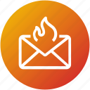 email, envelope, fire, hotmail, inbox, letter, mail icon