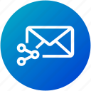 email, envelope, inbox, letter, link, mail, share icon
