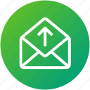 email, envelope, inbox, letter, mail, upload icon