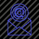 address, at, email, envelope, letter, mail, message, open, parcel, sign, symbol icon