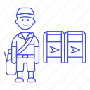 bag, collect, courier, delivery, email, mail, mailbox, mailman, male, package, parcel, post, postman icon