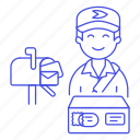 bag, courier, delivery, email, mail, mailbox, mailman, male, package, parcel, post, postman icon
