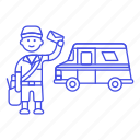 bag, courier, delivery, email, letter, mail, mailman, male, parcel, post, postman, truck, van icon