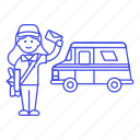 van, post, email, letter, postman, delivery, truck, mail, female, parcel, bag, mailman, courier icon