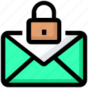 email, envelope, inbox, letter, lock, mail, private icon