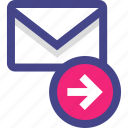 arrow, email, go, next icon