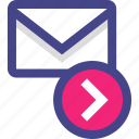 arrow, email, go, mail, next icon