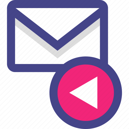 arrow, back, email, envelope, message icon