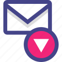 attachment, down, download, email, envelope, message icon