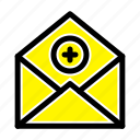 add, communication, email, mail icon