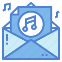 audio, email, mail, multimedia, sound icon